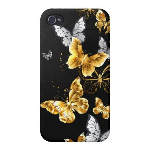 Gold and white butterflies case for iPhone 4