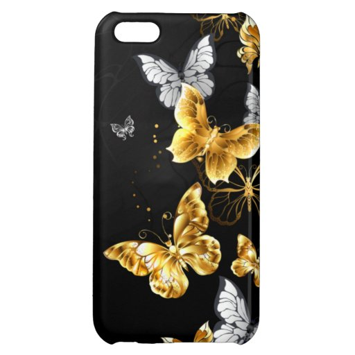 Gold and white butterflies case for iPhone 5C