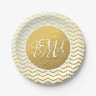 Gold and White Chevron Monogrammed Personalized 7 Inch Paper Plate