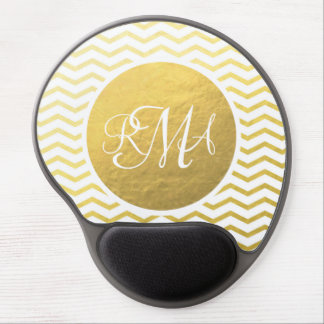 Gold and White Chevron Monogrammed Personalized Gel Mouse Pad
