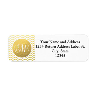 Gold and White Chevron Monogrammed Personalized Return Address Labels