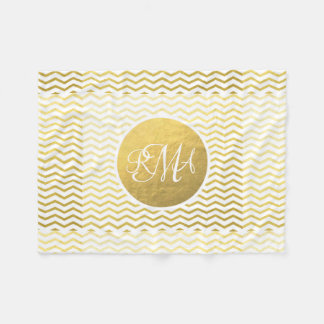 Gold and White Chevron Monogrammed Personalized Fleece Blanket