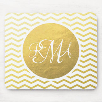 Gold and White Chevron Monogrammed Personalized Mousepad