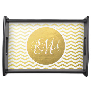 Gold and White Chevron Monogrammed Personalized Serving Platters