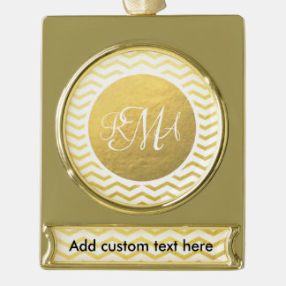 Gold and White Chevron Monogrammed Personalized Gold Plated Banner Ornament