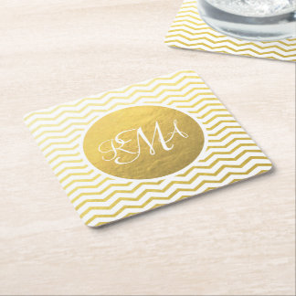 Gold and White Chevron Monogrammed Personalized Square Paper Coaster