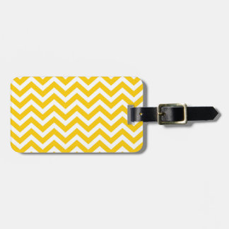 Gold and White Chevron Pattern Luggage Tag