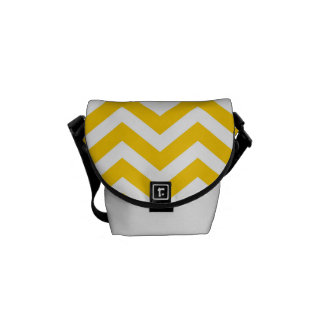 Gold and White Chevron Pattern Courier Bag