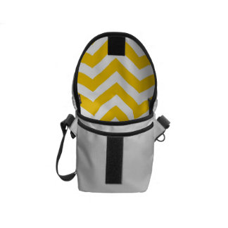 Gold and White Chevron Pattern Messenger Bags