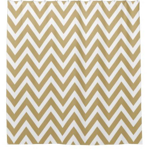 Gold And White Chevron Shower Curtain Zazzle