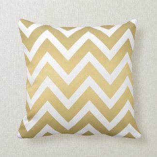 Gold and White Chevron Zigzag Stripes Pillow