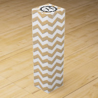 Gold and White Chevron Zigzag With Monogram Wine Gift Box