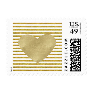 Gold and White Chic Stripes Heart Postage