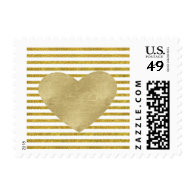 Gold and White Chic Stripes Heart Postage Stamps