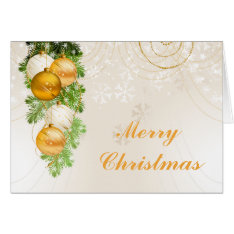 Gold and White Christmas Balls Card at Zazzle