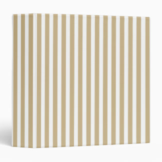Gold and White Christmas Candy Cane Stripes 3 Ring Binders