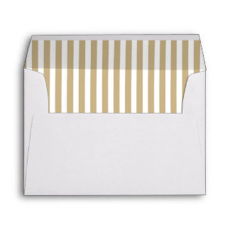 Gold and White Christmas Candy Cane Stripes Envelope