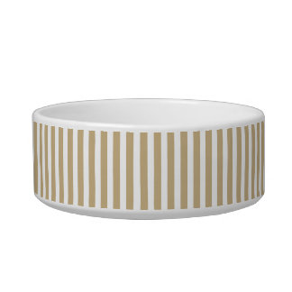 Gold and White Christmas Candy Cane Stripes Pet Water Bowl