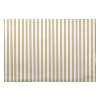 Gold and White Christmas Candy Cane Stripes Cloth Place Mat