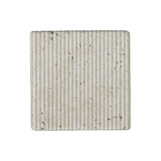 Gold and White Christmas Candy Cane Stripes Stone Magnet