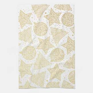 Gold and White Christmas Kitchen Towels