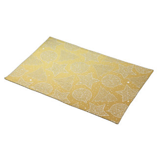 Gold and White Christmas Pattern Holiday Placemat