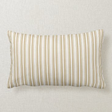 Aqua Gold and White Christmas Stripes Lumbar Pillow