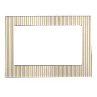Gold and White Christmas Stripes Picture Frame Magnet
