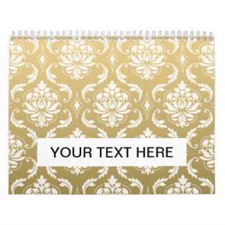 Gold and White Classic Damask Calendar