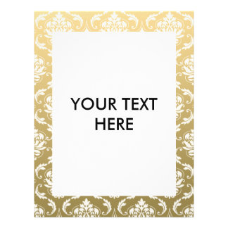 """Gold and White Classic Damask 8.5"""" X 11"""" Flyer"""