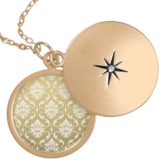Gold and White Classic Damask Gold Plated Necklace