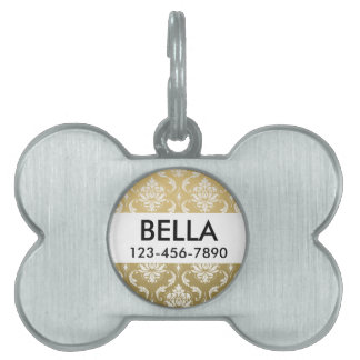 Gold and White Classic Damask Pet ID Tag