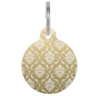 Gold and White Classic Damask Pet Name Tag