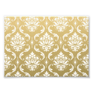 Gold and White Classic Damask Photo Print