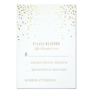 Gold and White Confetti Wedding RSVP Cards