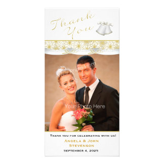 Gold and White Daisy Border, Thank You Photo Card