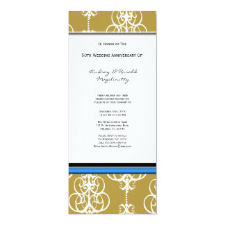 "Gold and White Damask Anniversary Party Invitation 4"" X 9.25"" Invitation Card"