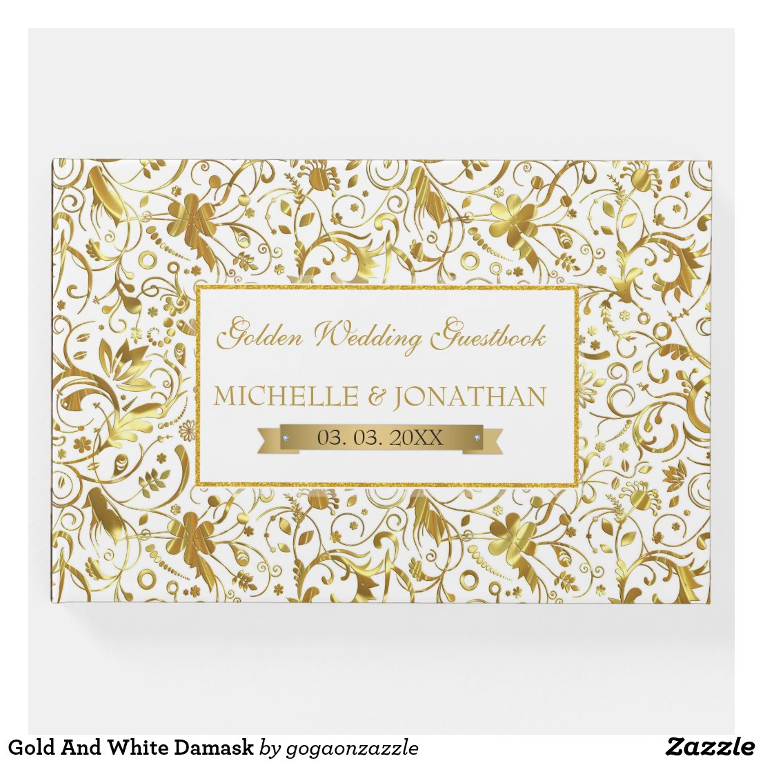 Gold And White Damask