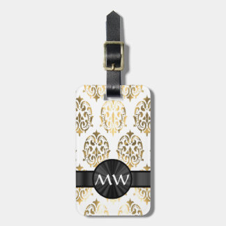 Gold and white damask pattern luggage tag
