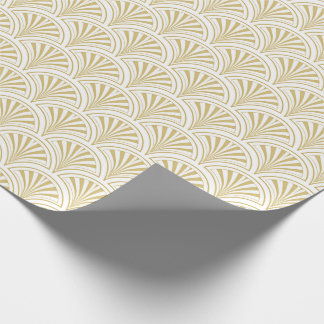 Gold and White Deco Fans Pattern Gift Wrapping Paper