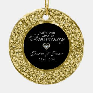 Gold And White Diamonds Silver Heart Ceramic Ornament