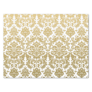 "Gold and White Elegant Damask Pattern 15"" X 20"" Tissue Paper"