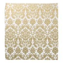 Gold and White Elegant Damask Pattern Bandana