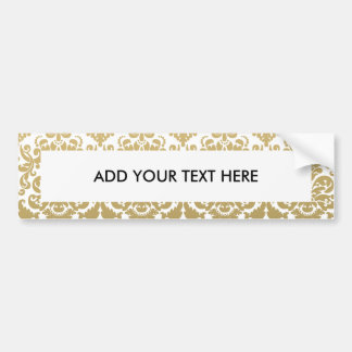 Gold and White Elegant Damask Pattern Bumper Sticker