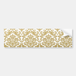 Gold and White Elegant Damask Pattern Bumper Sticker