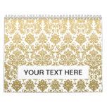 Gold and White Elegant Damask Pattern Calendar