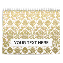 Gold and White Elegant Damask Pattern Calendar
