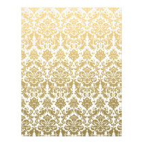 Gold and White Elegant Damask Pattern Flyer