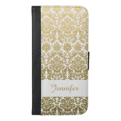 Gold and White Elegant Damask Pattern iPhone 6/6S Plus Wallet Case