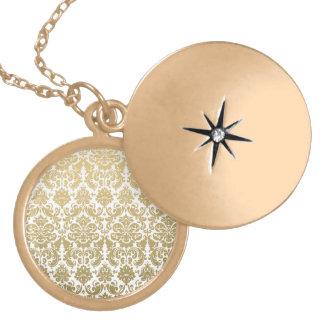 Gold and White Elegant Damask Pattern Locket Necklace